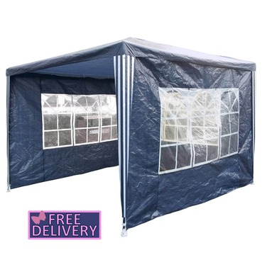 Gazebo with Sides 3m x 3m Gazebo Marquee Tent in Blue - Charles Bentley