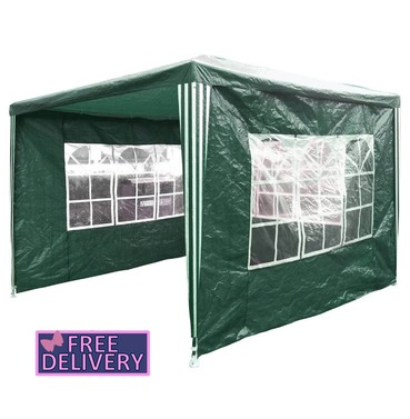 Gazebo with Sides 3m x 3m Gazebo Marquee Tent in Green - Charles Bentley