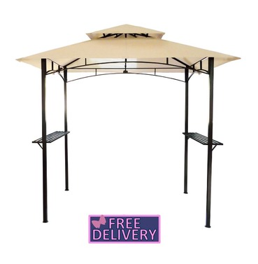 Steel Gazebo 8 x 5 Ft in Beige - Charles Bentley