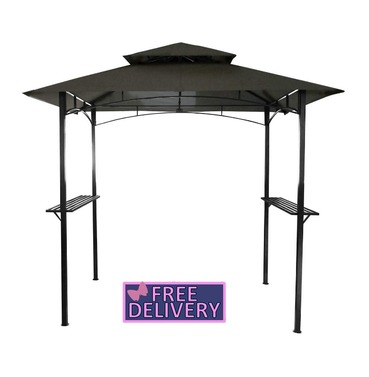 Steel Gazebo 8 x 5 Ft in Gray - Charles Bentley