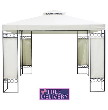 New - Steel Art Model Gazebo with Curtains - Charles Bentley