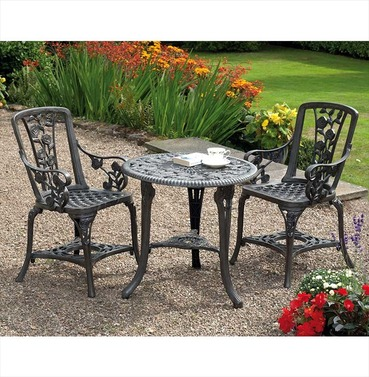 Rose Arm Chair Patio Bistro Set - Gun Metal Grey