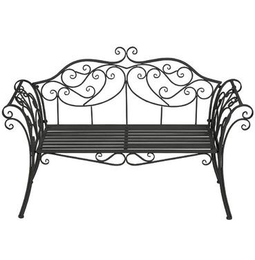Ornate Scrolled Garden Metal Bench - Black - Gardman