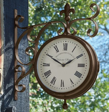 Victoria Double Sided Station Clock and Thermometer