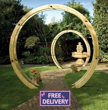 Free Standing Wooden Flower Circle Garden Pergola - Grange