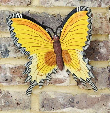 Yellow Wall Butterfly Garden Wall Art Medium - Fountasia