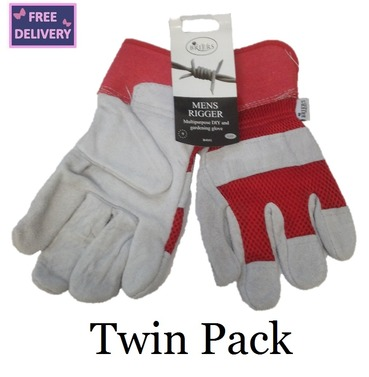 Mens Rigger Multipurpose Gardening & DIY Gloves - Twin Pack - Large - Red