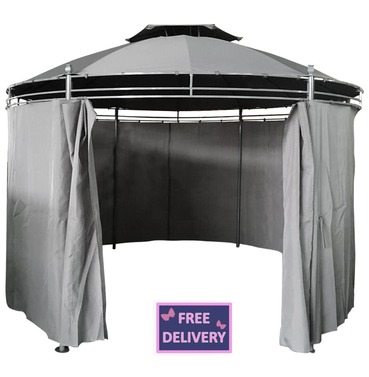 Round Gazebo 3.5m Steel Grey With Curtain - Charles Bentley