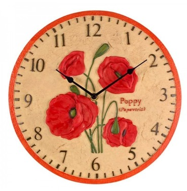 "Poppy Garden Outdoor Wall Clock 12"""