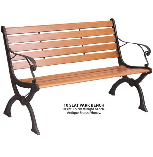 10 Slat Park Bench In Wood Metal The Garden Factory