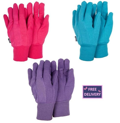 Ladies Jersey Triple Pack Gardening Gloves - Medium - Briers