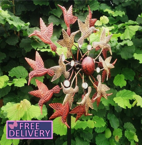 Hummingbird Garden Art Wind Sculpture Spinner