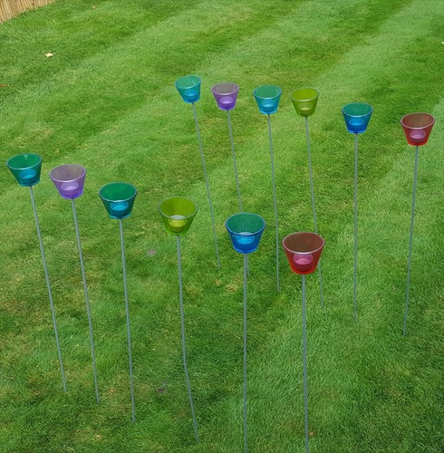 Glass Tealight Stake Holders - 12 Pack - Assorted Colours