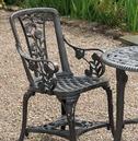 Rose Arm Chair Patio Bistro Set - Gun Metal Grey