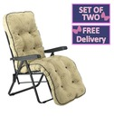 Reclining Multi Position Lounger Chairs - Set of Two - Mocha